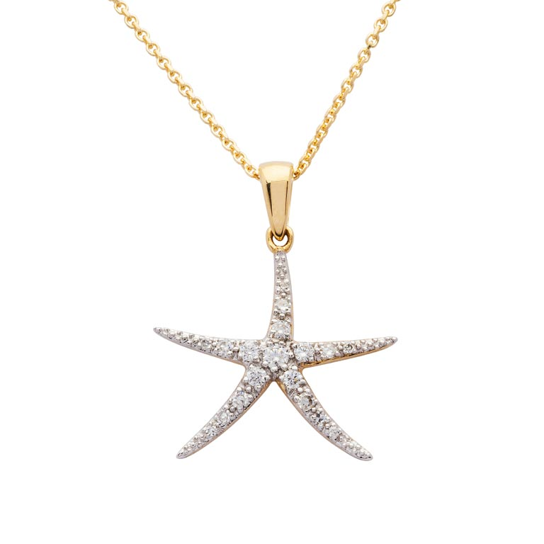 Starfish  Necklace in 14k Gold & Diamond
