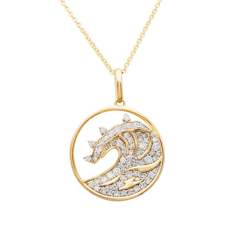 Circle Wave Necklace in 14k Gold & Diamond