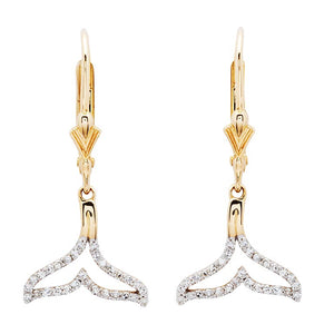 Whale Tail  Drop  Earrings in 14k Gold & Diamond