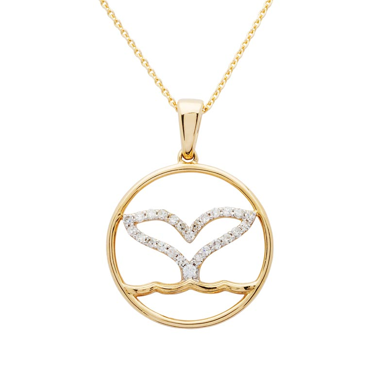 Open Whale Tail Necklace in 14k Gold & Diamond