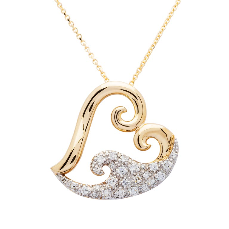 Heart Wave Necklace in 14k Gold & Diamond