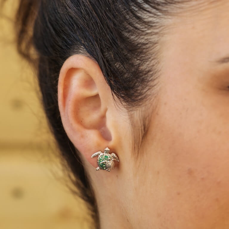 Mother & Baby Green Sea Turtle Studs With Swarovski® Crystals