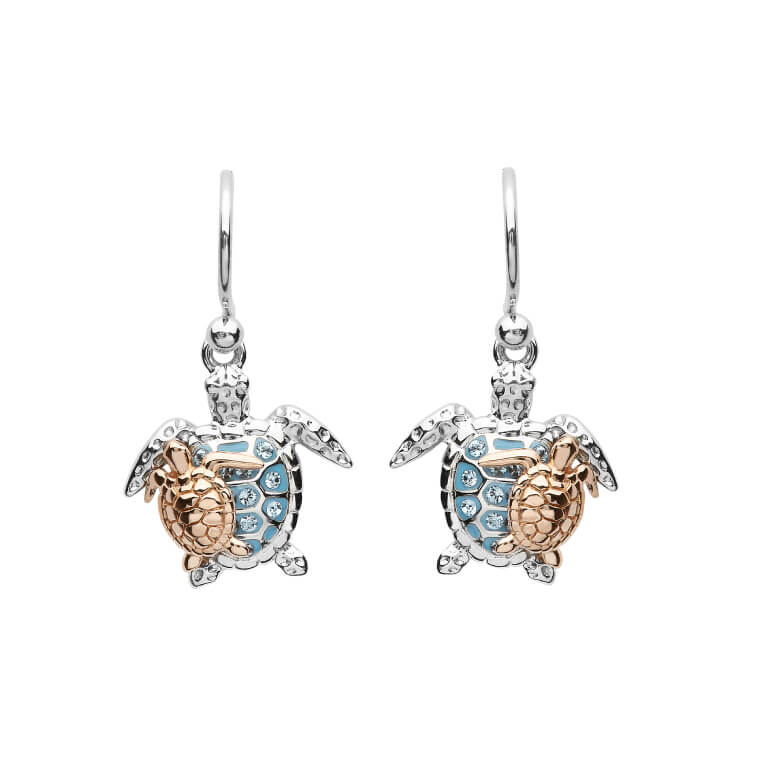 Mother & Baby Blue Sea Turtle Earrings with  Swarovski® Crystals