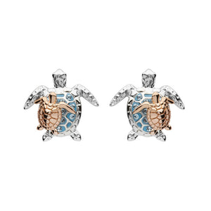 Mother & Baby Blue Sea Turtle Studs With Swarovski® Crystals