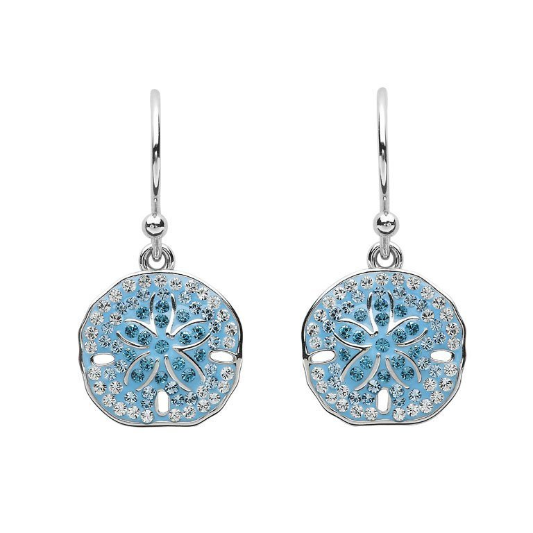 Sand Dollar Aqua Earrings With Swarovski® Crystals