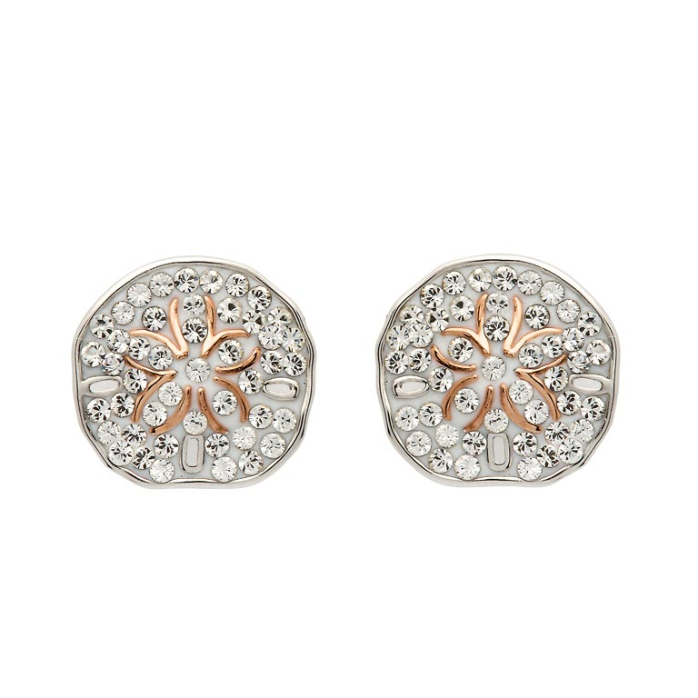 Sand Dollar Earrings With Swarovski® Crystals