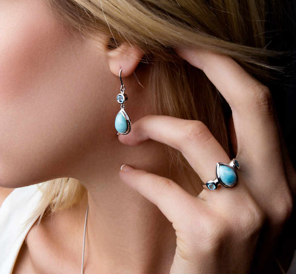 Atlantic Pear Marahlago Larimar Earrings