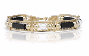Onyx, Pearl and Gold Bead Bracelet Style-152™  Ronaldo