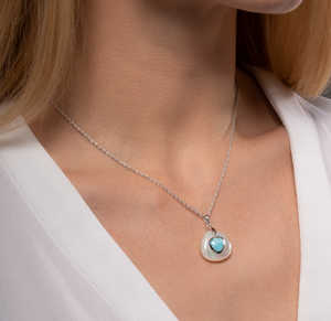 Mother of Pearl Larimar Necklace