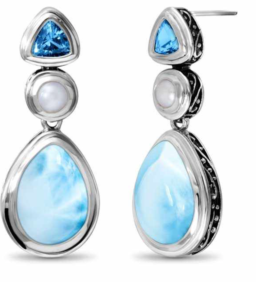 Azure Pear Marahlago Larimar Earrings