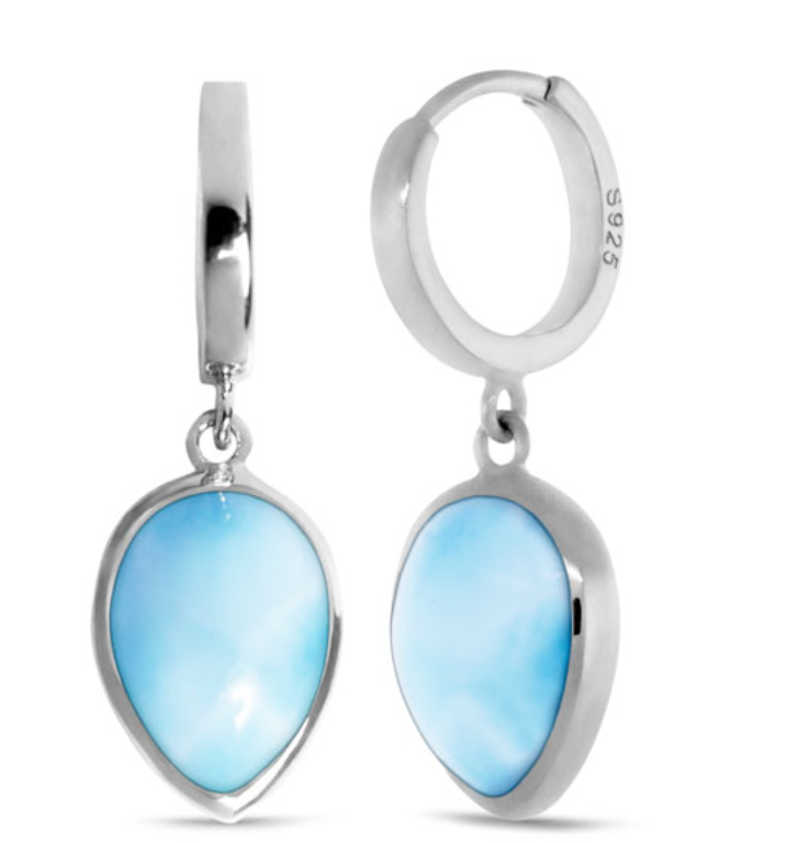 Marahlago Pear Hoop Larimar Earrings