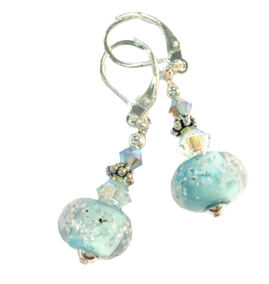 Destin Sand Bead Swarovski Crystal Sterling Silver Earrings