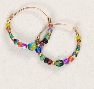 Beaded  Petite Glass Bead Hoops