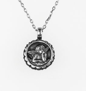Mariana [Antiqued Silver] Birthstone Guardian Angel Pendant April