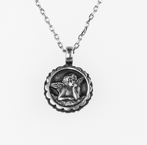 Mariana [Antiqued Silver] Birthstone Guardian Angel Pendant July
