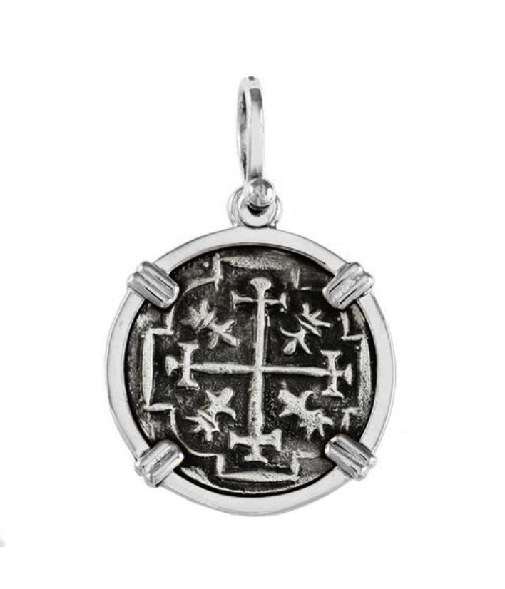 "ATOCHA SILVER REPLICA COIN 1/16"" REPLICA PENDANT OR NECKLACE"