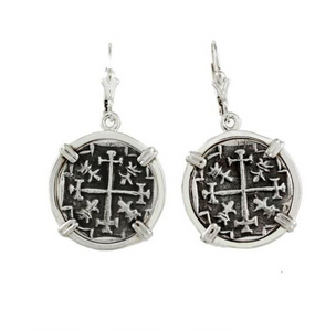 ATOCHA SILVER REPLICA COIN EARRINGS