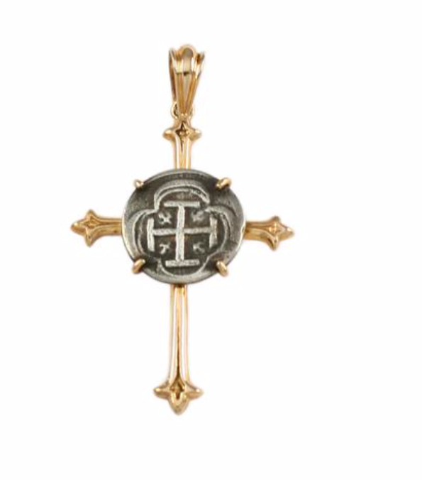 ATOCHA SILVER REPLICA COIN CROSS PENDANT