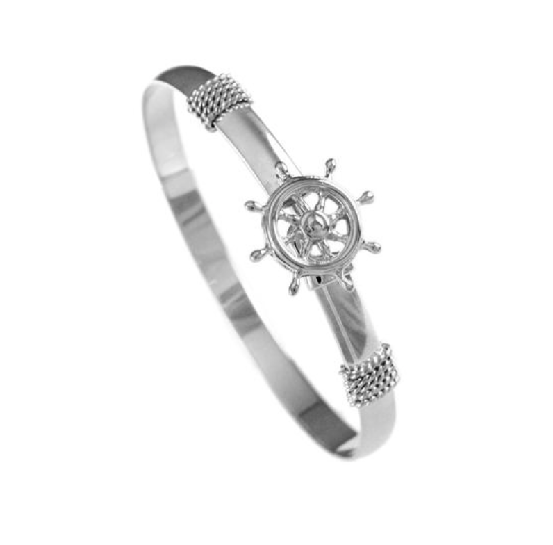 Sterling Silver Ship Wheel Hook Bracelet