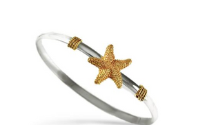 14 K Gold Starfish and Sterling Silver Hook Bracelet
