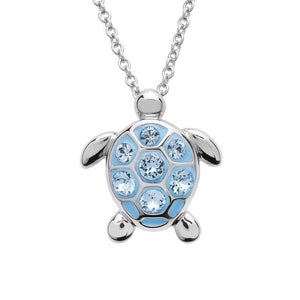 Sea Turtle Necklace With Aqua Swarovski® Crystals – Small Size