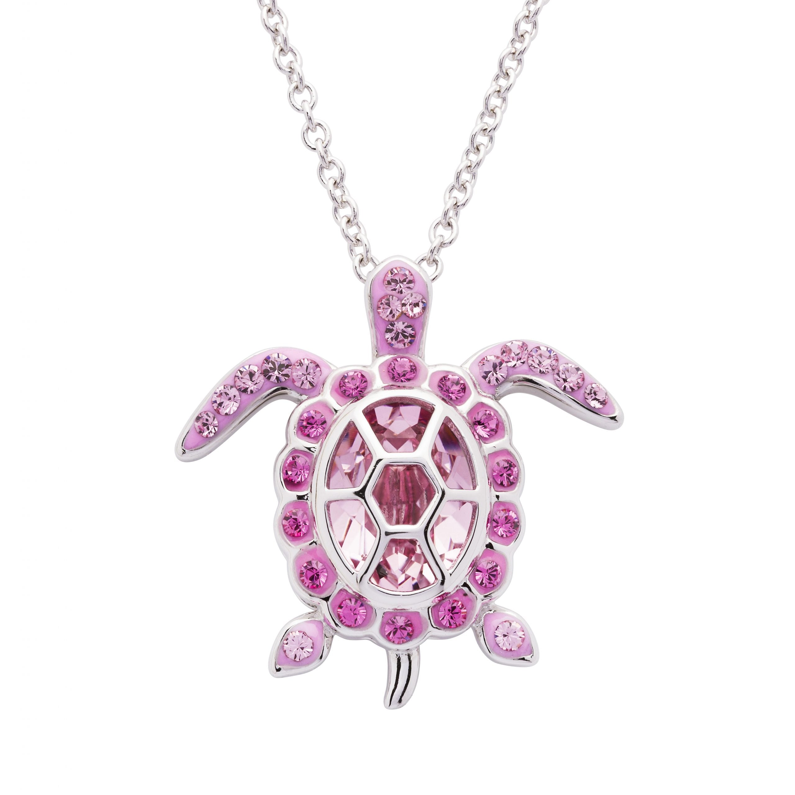 October Turtle Birthstone Pendant with Swarovski Crystals