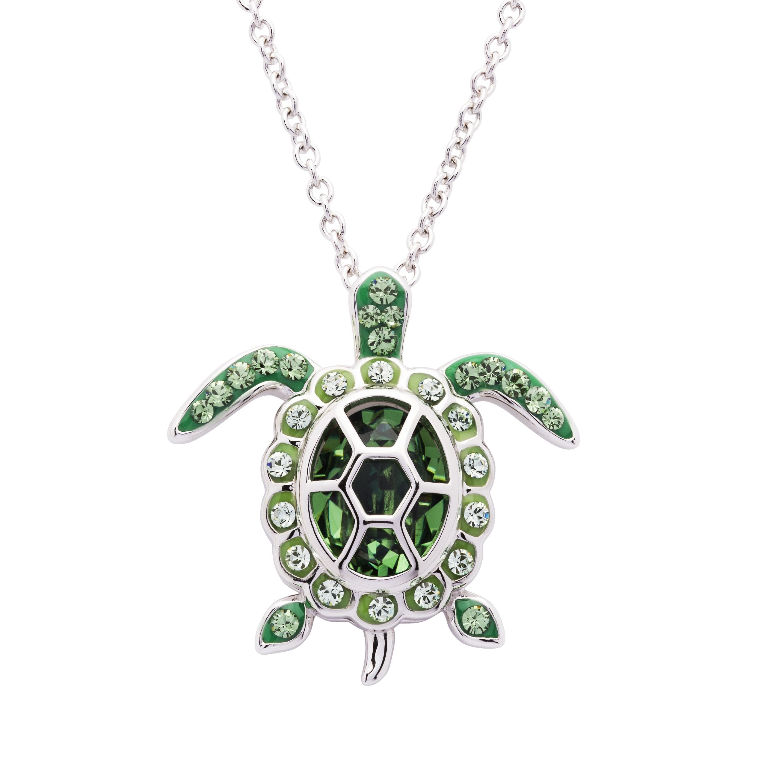 August Turtle Birthstone Pendant with Swarovski Crystals