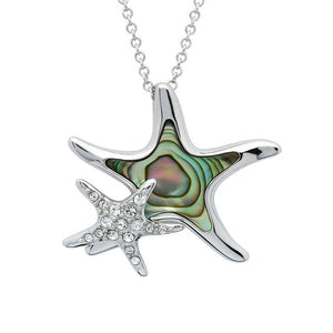 Abalone Shell Starfish with Mom and Baby necklace
