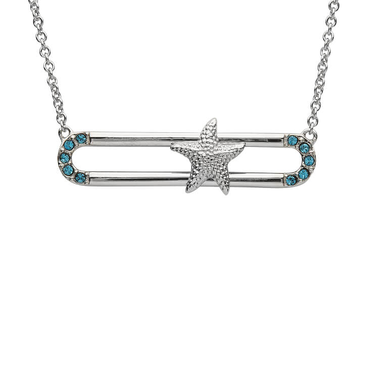 Sea Turtle , Starfish or Dolphin Slider Pendant With Blue Swarovski® Crystals