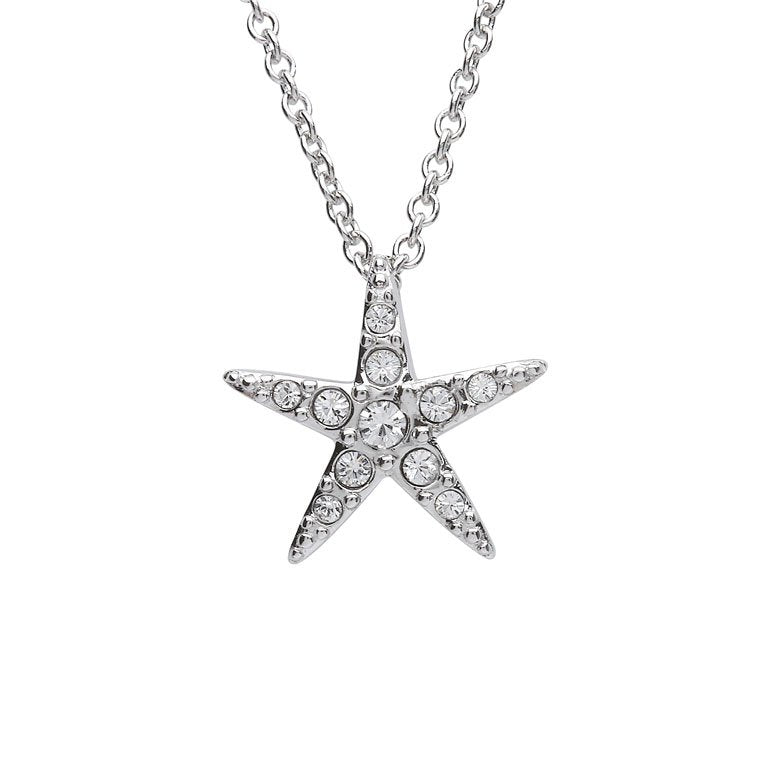 Starfish Pendant With Clear Swarovski® Crystals – Small Size