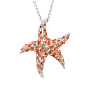 Starfish Pendant With Coral  Swarovski Crystals