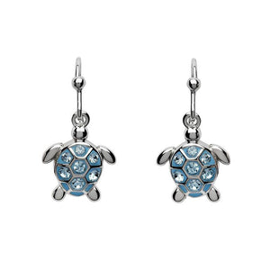 Drop Turtle Earrings With Blue Swarovski® Crystals