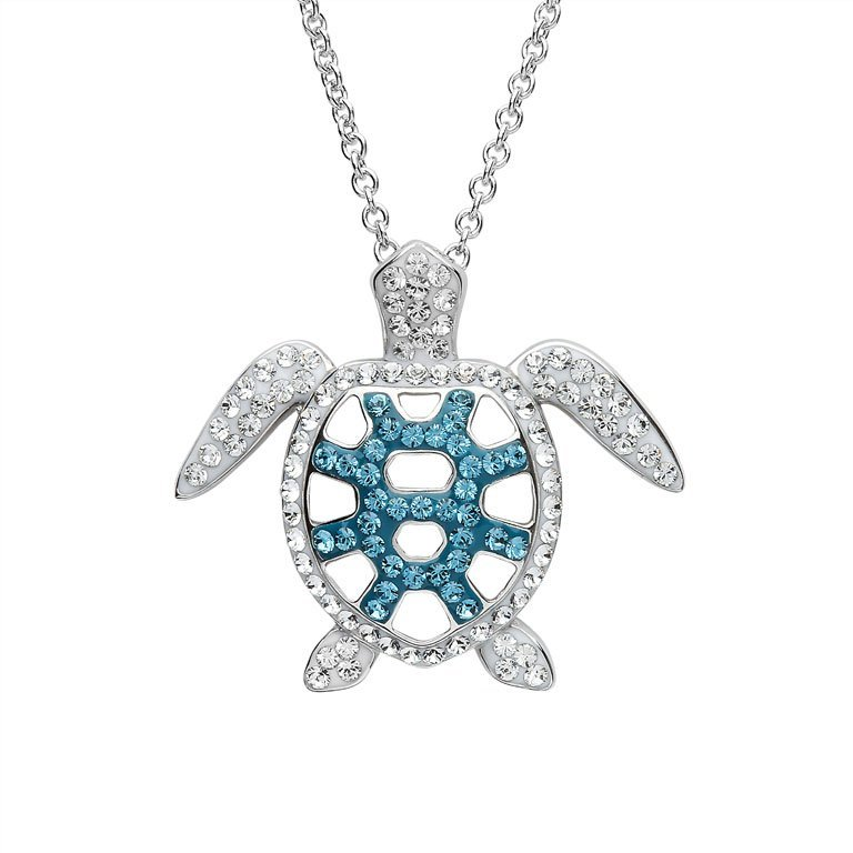 Filligree Turtle Necklace With Swarovski® Crystals