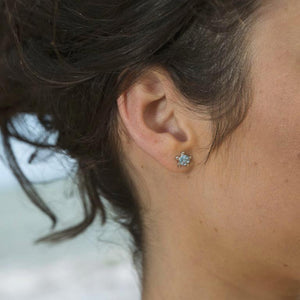 Stud Turtle Earrings With Blue Swarovski® Crystals