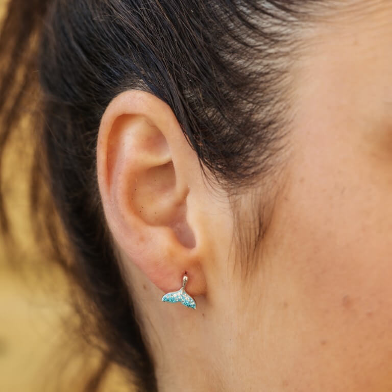 Whale Tail Aqua Earrings With Swarovski® Crystals
