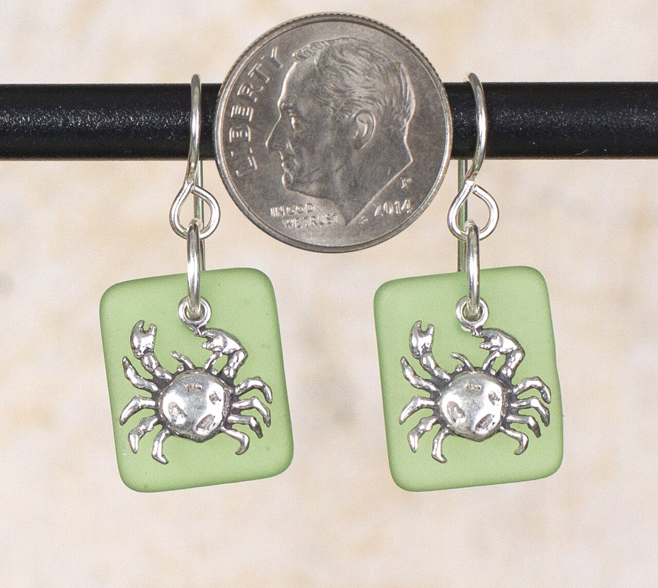 Seaglass Crab Earrings