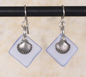 Seaglass Seashell  Earrings