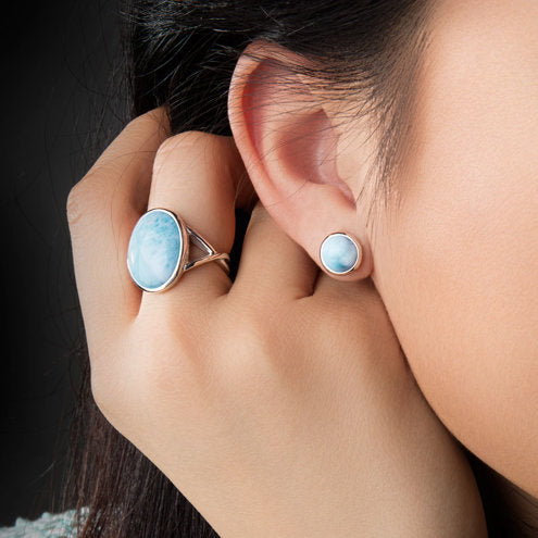Round Post Marahlago Larimar Stud Earrings