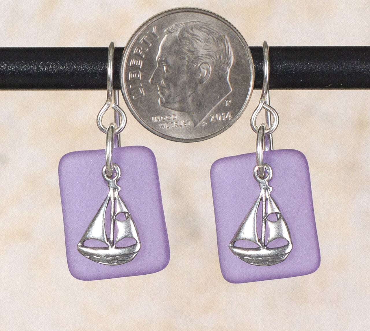 Seaglass Sailboat  Earrings