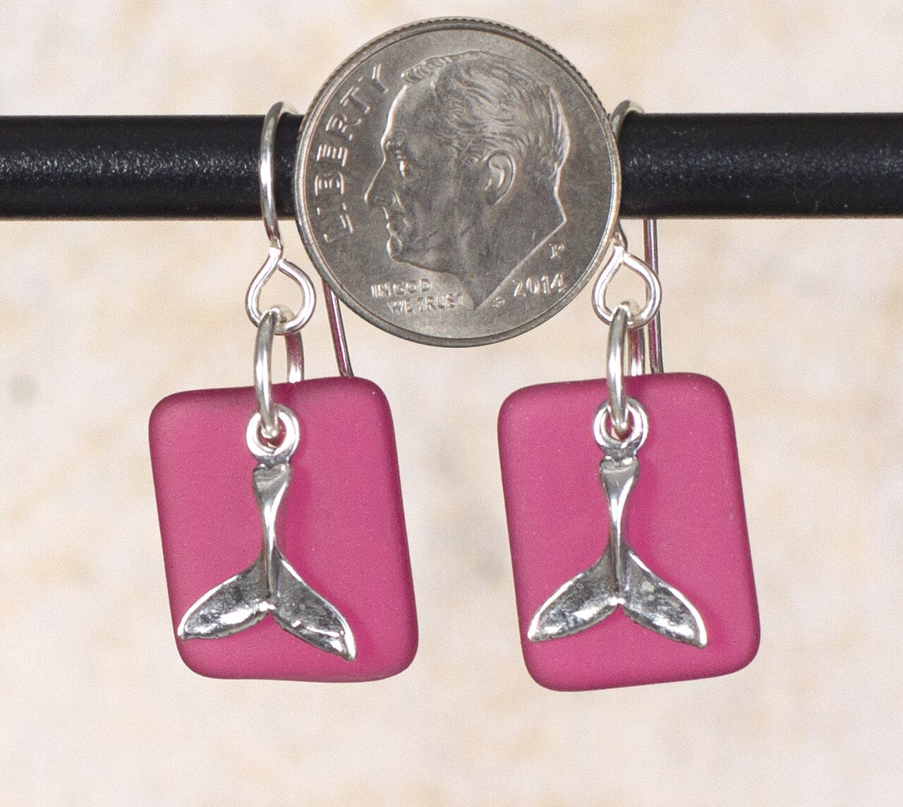 Seaglass Whale Tail or Mermaid Tale Earrings