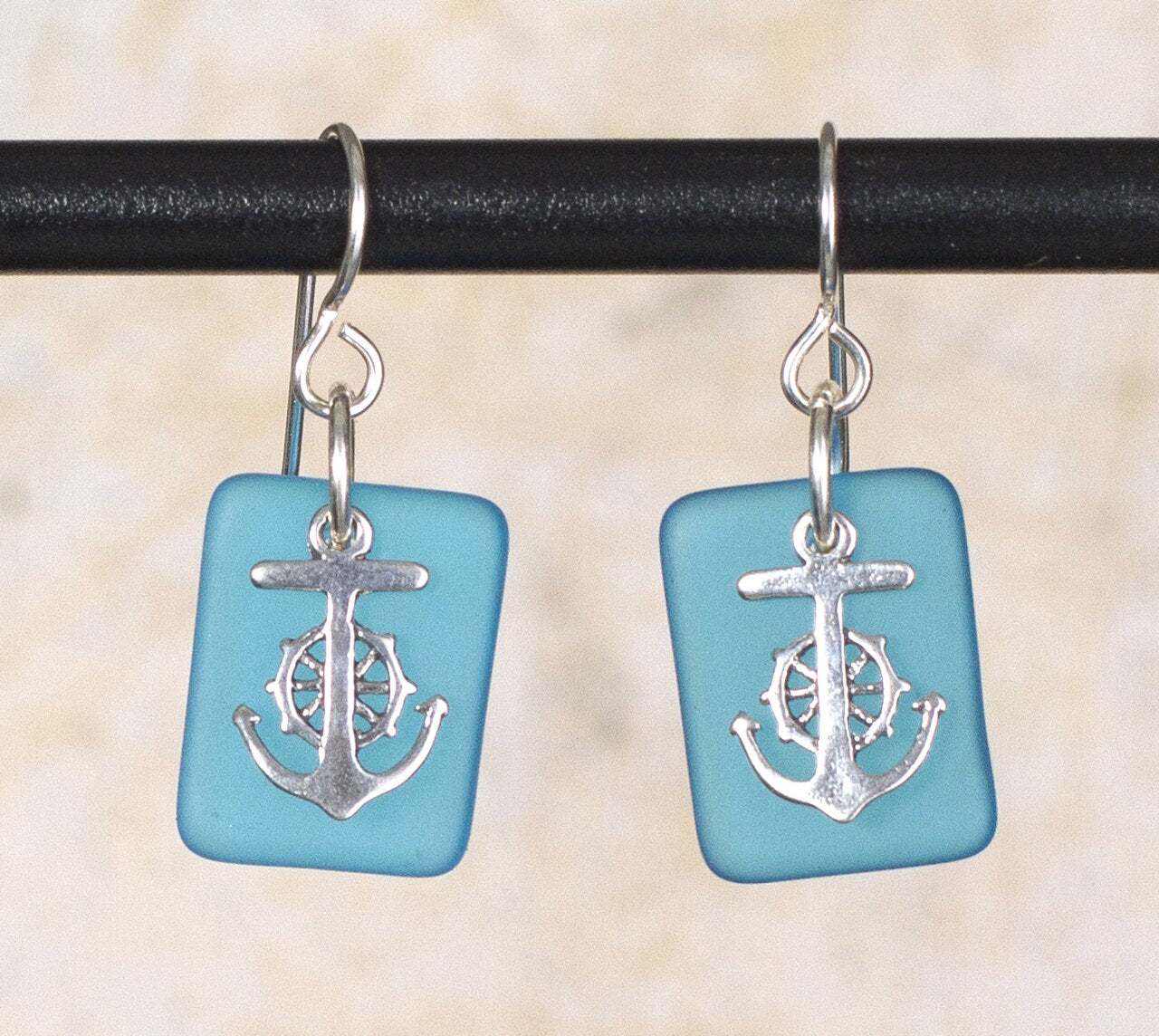 Seaglass Anchor Earrings