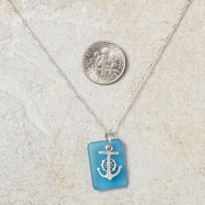 Seaglass Anchor Necklace