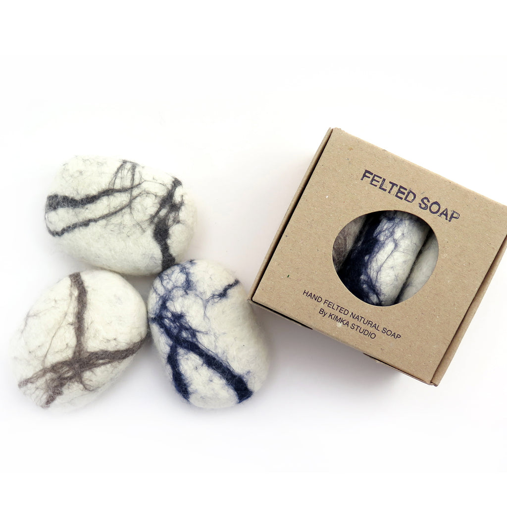 Felted soap- white hues, pack of 3