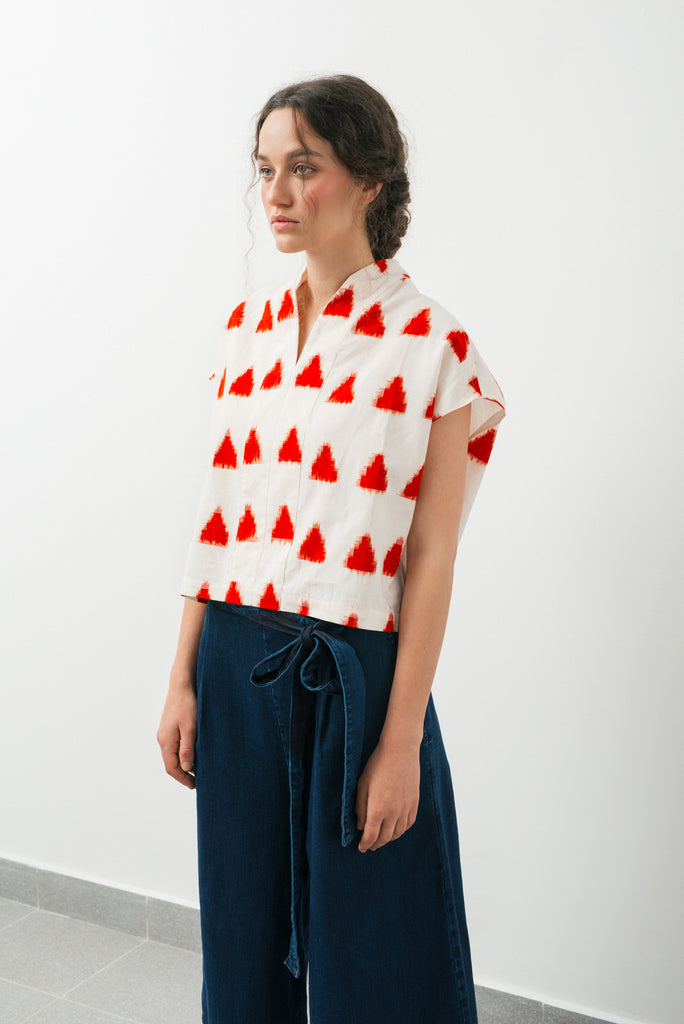 Paros shirt- white & red