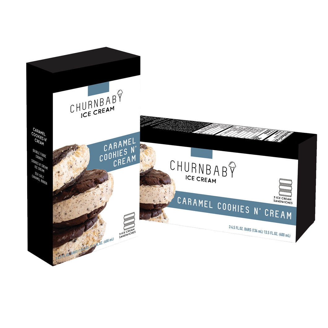 ChurnBaby® Caramel Cookies N' Cream Ice Cream Sandwich