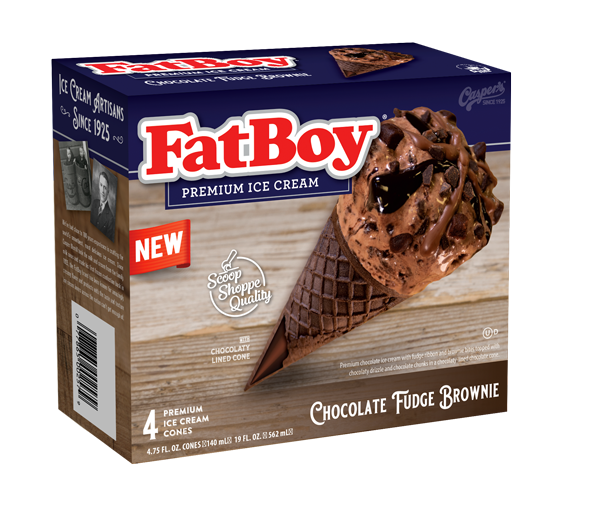FatBoy® Ice Cream Cones - Chocolate Fudge Brownie - 4 Count