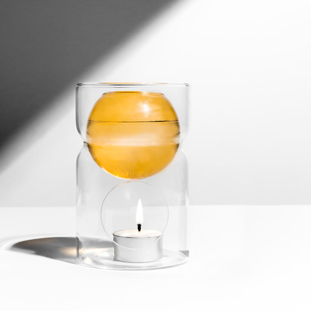 Oil Burner + Tea Light Candle - Amber/Clear