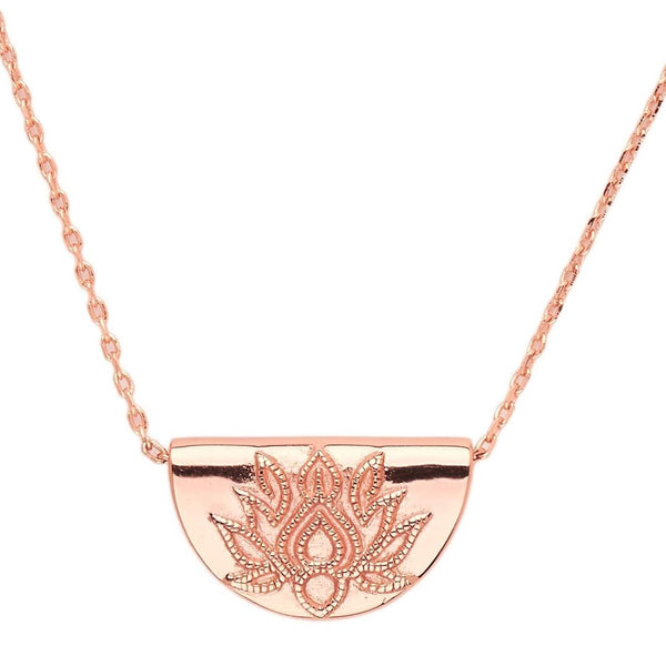 Rose Gold Lotus Short Necklace