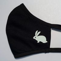Fluffy Bunny Face Mask White