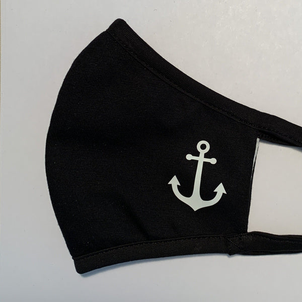 Anchor Black Face Mask with custom design